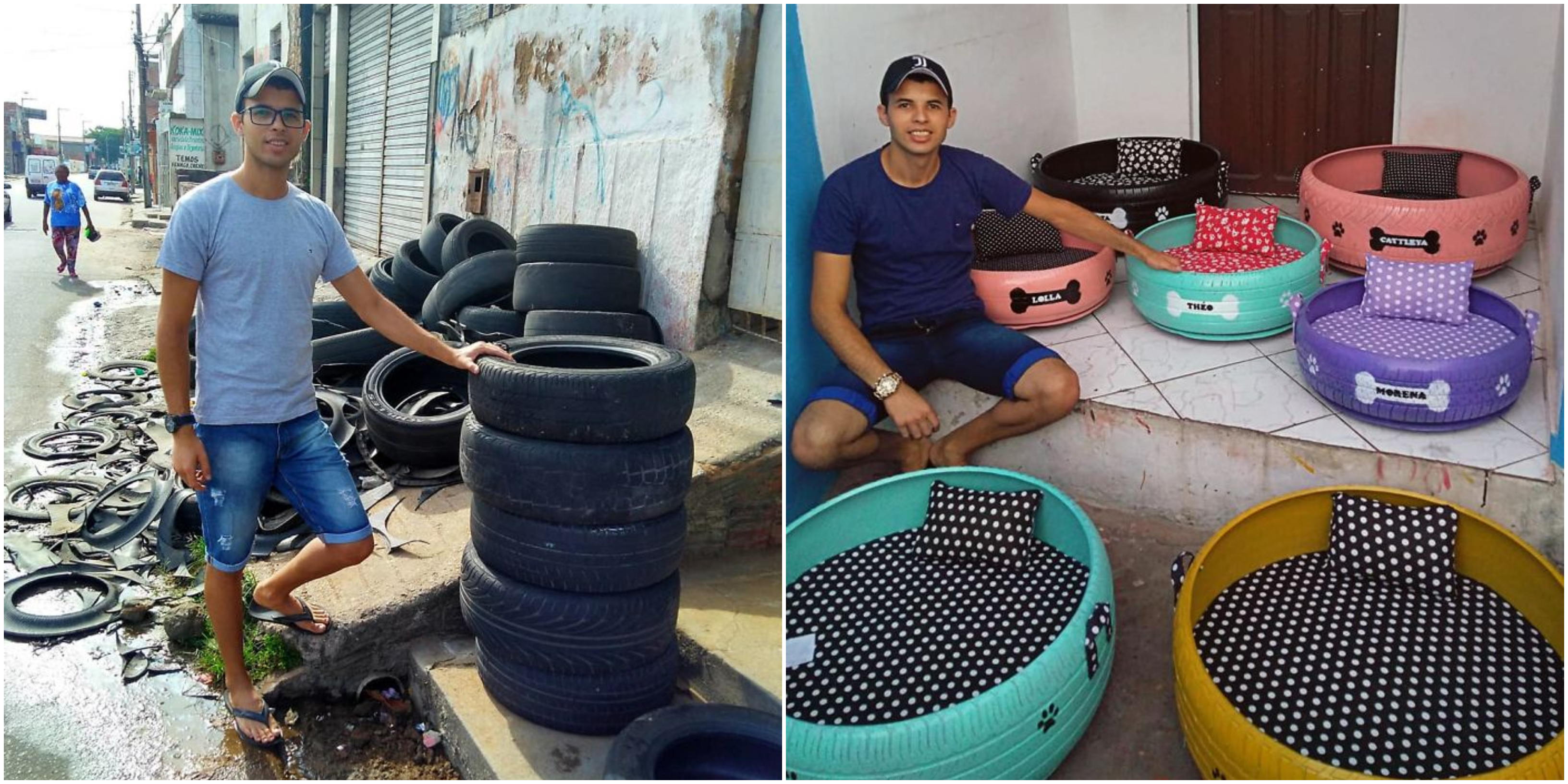 Artist Creates Beautiful Pet Beds From Old Tires